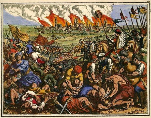 """Bitwa pod Legnicą na miedziorycie Matthäusa Meriana Starszego z 1630 roku pod tytułem """"Wielka klęska chrześcijan pobitych przez Tatarów"""""""